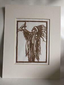 Scherenschnitte Silhouette Paper Cut Art Native American Holding A Bird Matted