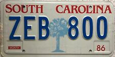 GENUINE American 1986 South Carolina Palm Tree USA License Number Plate ZEB 800