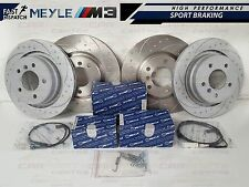 BMW E36 M3 EVO FRONT REAR DIMPLED AND GROOVED BRAKE DISC DISCS MEYLE PADS SHOES