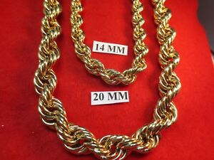 """26"""" -  30"""" BLING 16MM & 20MM 14KT GOLD  EP RUN  DMC  BLING ROPE CHAIN NECKLACE"""