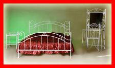Klasisches handgeschmiedetes Doppelbett Scarlett 120x200 +Lattenrost, weiß