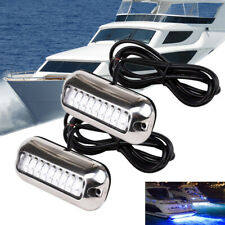 2x Polished Stainless Steel 27 LED Underwater Pontoon Marine/Boat Transom Lights