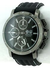 Cross Hatch Men's Chronograph Effect Dial Black Silicone Strap Watch 12 Months W