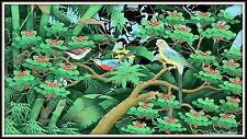 """Balinese Original Painting  """"Birds of a Feather""""  Large Size  (25"""" H x 43"""" W)"""