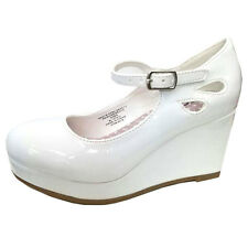 Girls Kid's Mary Jane Low Platform Wedge Heels Party Wedding Dress Shoes