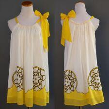 Bizz Sheer Diaphanous Cotton Tent Baby Doll Dress Embroidery Cutwork Applique OS