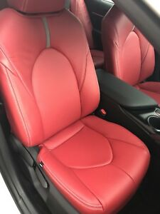 "2018 2019 2020 Toyota Camry LE / SE Katzkin Red Leather Repla Seat Covers ""J"""