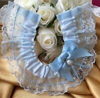 WEDDING HORSESHOE SOMETHING BLUE SATIN AND WHITE LACE bridal shower bows pearls