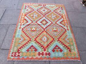 Vintage Kilim Traditional Hand Made Oriental Red Wool Large Kilim 170x135cm