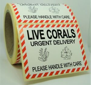 LIVE CORALS WITH CARE Labels Stickers MEDIUM 100x75mm Aquarium Pets 100X75-LCO