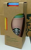 Starbucks Becher Reusable Colour Changing Cold Cup Sommer Set 5 Stück 24oz NEU