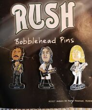 Rush Bobblehead Pins Very Rare Collectors Item Neil Peart,geddy Lee,.