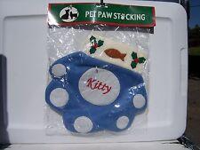 New listing Blue Fleece Christmas Pet Paw Stocking Kitty New