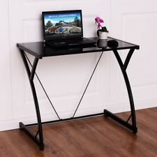 Costway Glass Top Computer Desk PC Laptop Table Writing Study Workstation Home O