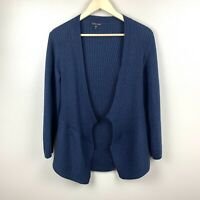 Eileen Fisher Womens Cardigan Sweater 100% Merino Wool Ribbed Open Front Blue M