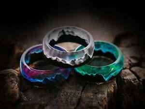 Resin Ring Aurora Borealis Handmade Acrylic Epoxy Jewelry Women Men Northern
