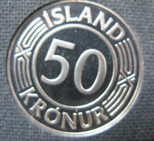 Iceland #  1980, 50 krónur.Proof. Uncirculated.Rear coin.