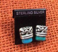 Vintage Sterling Earrings Silver & Turquoise Embossed Petite Top Post Pierced