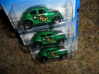 3 LOT 1997 HOT WHEELS #543 VW BUG BIFF BAM BOOM SERIES NO HOT WHEEL LOGO 5 SPOKE