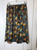 Vintage Small/medium Brown Blue And Yellow Satin Skirt