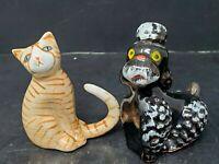 Vintage 1950s Ceramic Black Poodle Dog and Orange Cat Figurines Japan HTF