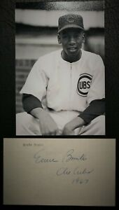 Playing Days 1967 Ernie Banks Signed and Inscribed 3x5 HOF D 2015 JSA