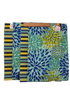 Fiesta Placemats Set of 4 Reversible Stripe Floral blue/yellow/green Vintage?