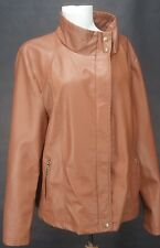 THERAPY Faux Leather Ribbed Side Jacket Cognac Size 2X