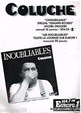 Publicité Advertising 1988 Spectacle Coluche sur A2 et Radio Europe 1