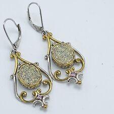 Sterling Silver Druzy Drusy Chandelier Drop Earrings