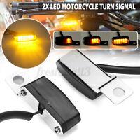 2X Mini Motorcycle Handlebar Mount LED Turn Signal Indicators Lights Universal