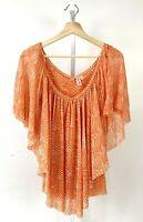 SWEET PEA Stacy Frati Flutter Sleeve Top Shirt Animal Print Nylon Mesh Orange S