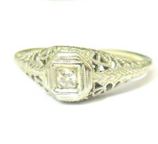 1910s ANTIQUE 18K WHITE GOLD DIAMOND RING FILIGREE WORK AS-IS - ESTATE JEWELRY