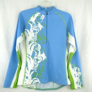 Cannondale Womens 1/2 Zip Blue Green White Cycling Jersey Long Sleeve Size L