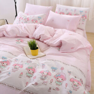 3/4 Piece Cartoon My Melody Quilt Cover Bed Sheets Pillowcase Cotton Bedding Set