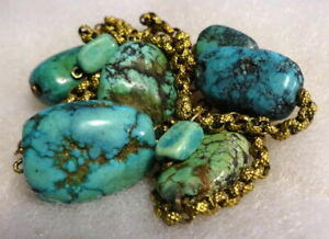 Antique Handmade Gilded Fancy Chain with Old Turquoise Beads Necklace
