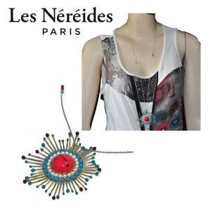 The Nereides Long Necklace Colour Gold Pendant Sun Multicolored Jewel