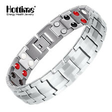 Hottime Titanium Steel Magnetic Far Therapy Negative Ion Bracelet Pain Relief US