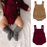 Newborn Baby Girls Knitted Romper Toddler Pocket Jumpsuit Clothes Romper Outfit