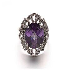 Stunning Stainless Steel Indigo Crystal Rhinestone Filigree Ring, Size 8