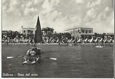 STUPENDA CARTOLINA DI BELLARIA VISTA DAL MARE PERSONE PATTINO BARCA ECC 1955