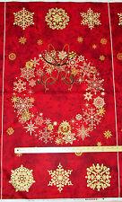 "Stonehenge Starry Night Red Christmas Wreath Northcott Fabric Panel  23""  203411"