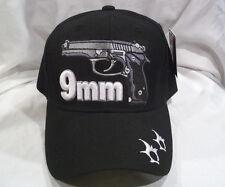 9MM SEMI AUTOMATIC  PISTOL BALL CAP HAT IN BLACK NEW NWT OSFM