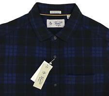 Men's PENGUIN Blue Black Plaid Flannel Shirt Slim Fit Medium M NWT NEW Cool!