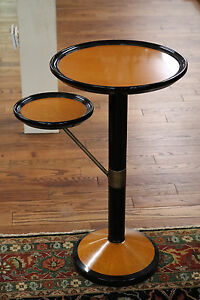 Gorgeous Ebonized & Maple French Art Deco Style Cigar Stand Table W Brass MINT