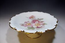 Vtg Schumann Arzberg Germany Golden Crown E&R 1886 Wild Rose Footed Cake Plate