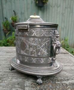 Antique Victorian Griffin Handle Biscuit Box Barrel Tea Caddy Worn Silver Plate