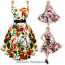 RKH63 Hearts and Roses H&R Tropical Summer Floral Rockabilly Dress 50s Retro
