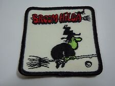 "Vintage BROOM HILDA Embroidered Sew-On Patch - 3"""