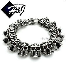 "9""BIKER Stainless Steel HEAVY Red Eye Silver Black Skull Face Heads Bracelet*B76"